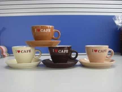 Šálek s podšálkem keramický I love cafe 4ks