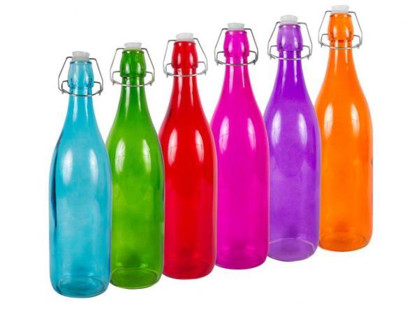 Láhev s pákovým uzávěrem 1l / hladká / barevná